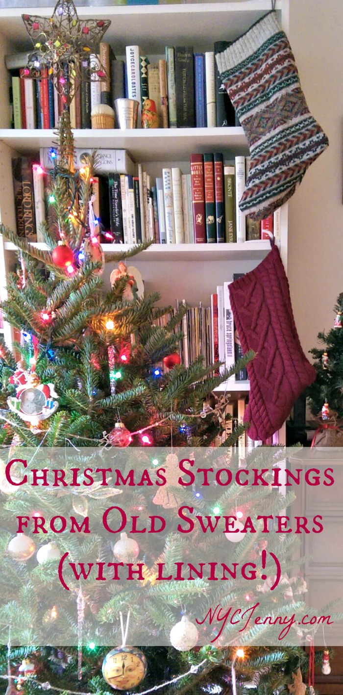 lined stockings from sweaters nycjenny banner bright - Sweater Christmas Stockings